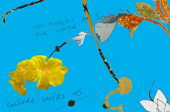 Una flor de ypé amarillo caída sobre un fragmento de la pieza de Yinka Shonibare descargada desde http://www.guardian.co.uk/artanddesign/2009/apr/06/yinka-shonibare-art-screensaver